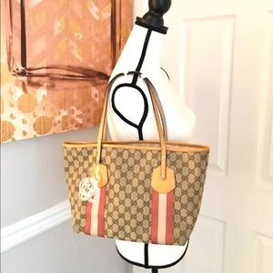 Authentic Gucci brown tote with yellow accents